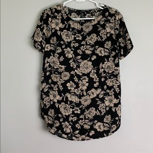 Black and cream floral blouse